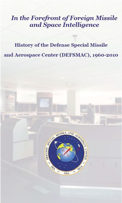 In the Forefront of Foreign Missile and Space Intelligence History of the Defense Special Missile and Aerospace Center (DEFSMAC), 1960-2010