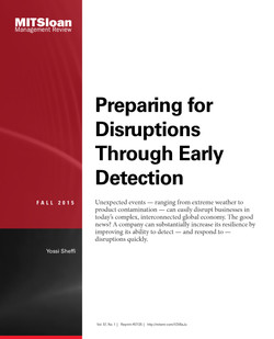 Preparing for Disruptions Through Early Detection