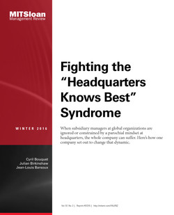 """Fighting the """"Headquarters Knows Best Syndrome"""""""