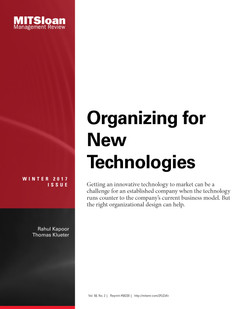 Organizing for New Technologies