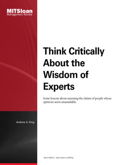 Think Critically About the Wisdom of Experts