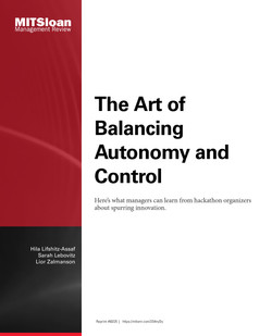 The Art of Balancing Autonomy and Control