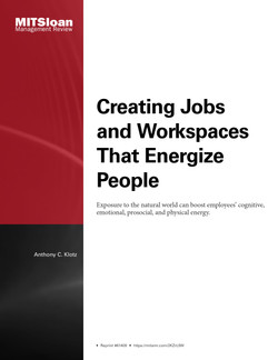 Creating Jobs and Workspaces That Energize People