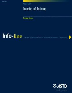 Transfer of Training—Training Basics